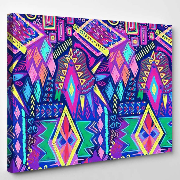 Ethnic Doodles Pattern Tribal Print Simple - Hippies Canvas Wall Decor