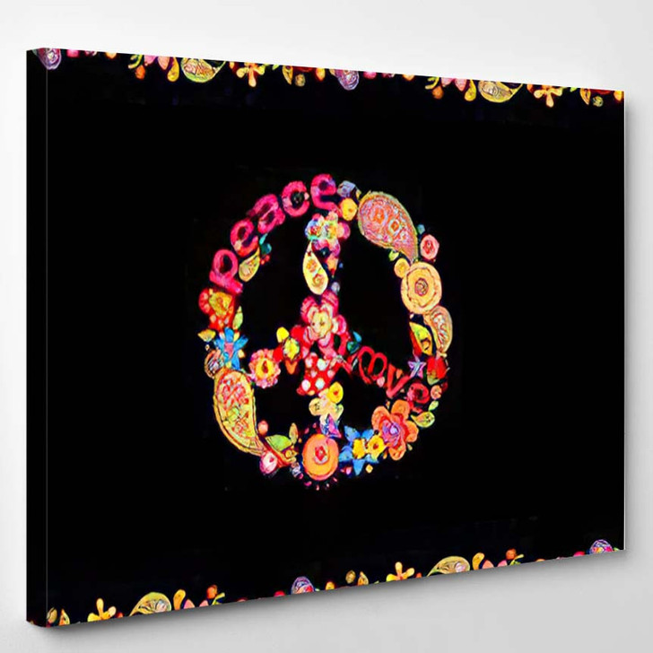 Fashion Design Colorful Floral Summery Seamless - Hippies Canvas Wall Decor