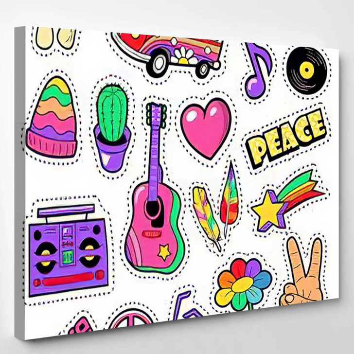 Fashion Hippie Badges Patches Stickers Van - Hippies Canvas Wall Decor