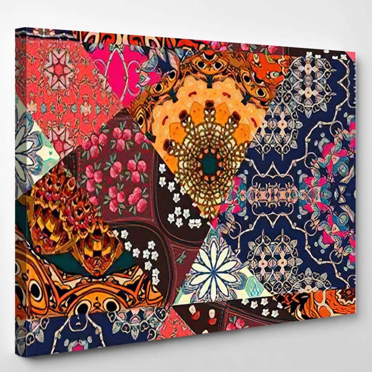 Festive Patchwork Pattern Indian Style Flower - Hippies Canvas Wall Decor