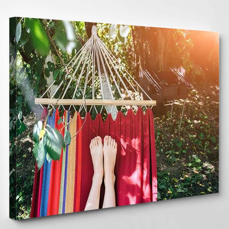 Fit Girl Lying Colourful Hammock Woman - Hippies Canvas Wall Decor