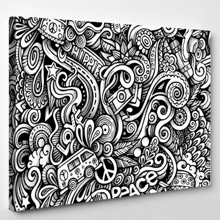 Graphic Hippie Hand Drawn Artistic Doodles - Hippies Canvas Wall Decor