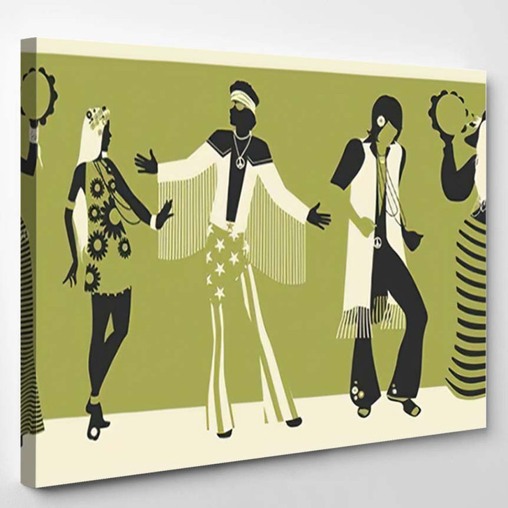Group Five Wearing Hippie Clothes 60S - Hippies Canvas Wall Decor