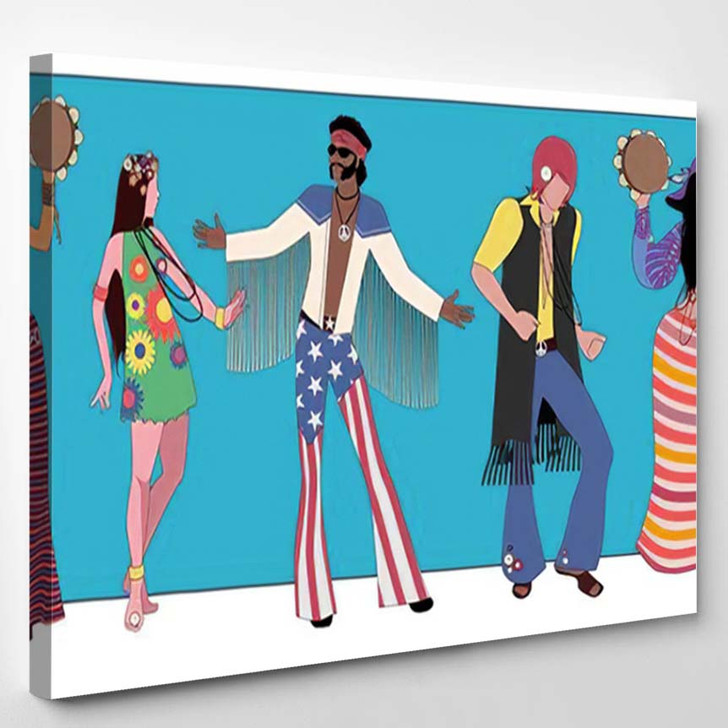 Group Five Wearing Hippie Clothes 60S 1 - Hippies Canvas Wall Decor