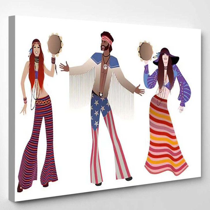 Group Three Two Girls Playing Tambourines - Hippies Canvas Wall Decor