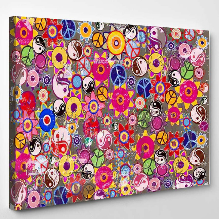 Grunge Hippies Background Vector Colorful Icons - Hippies Canvas Wall Decor