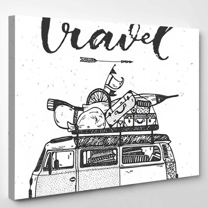 Hand Drawing Conceptual Illustration Lets Go - Hippies Canvas Wall Decor