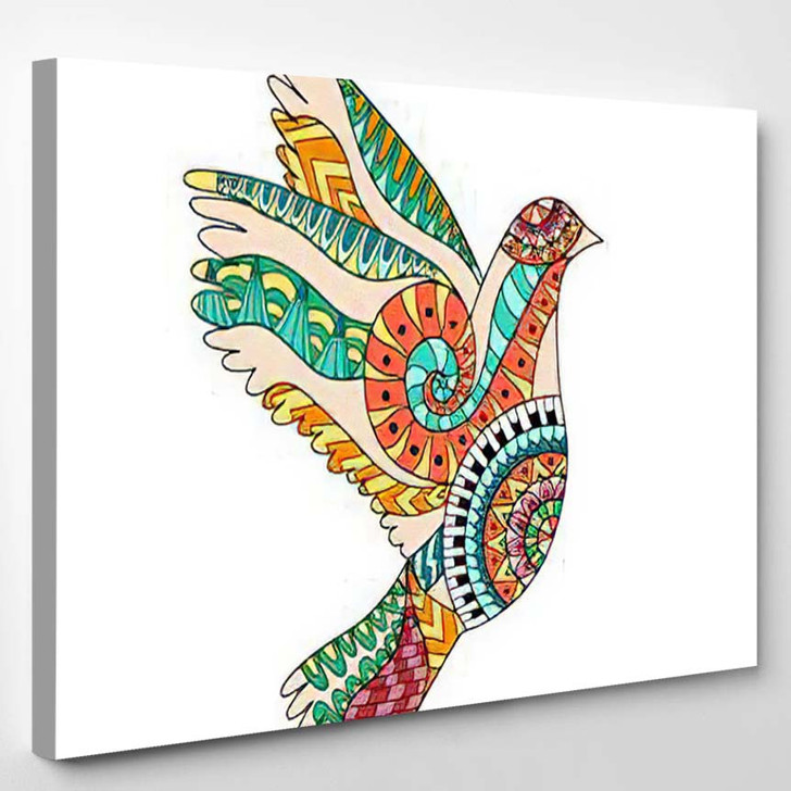 Hand Drawn Colorful Flying Dove Zentangle - Hippies Canvas Wall Decor