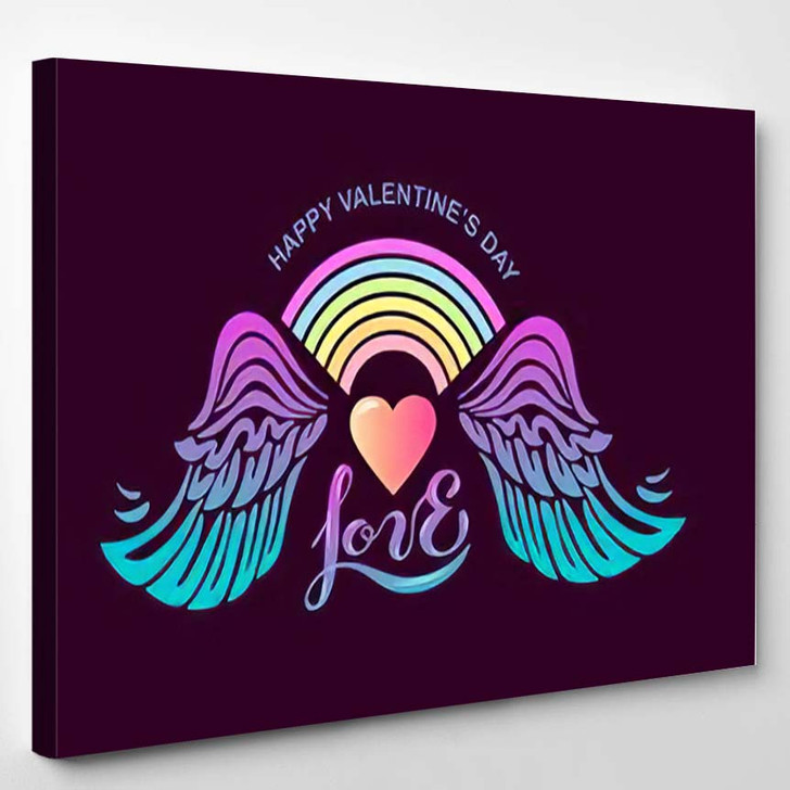 Happy Valentines Day Heart Rainbow Wings - Hippies Canvas Wall Decor