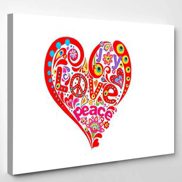 Heart Red Abstract Shape Tshirt Print - Hippies Canvas Wall Decor