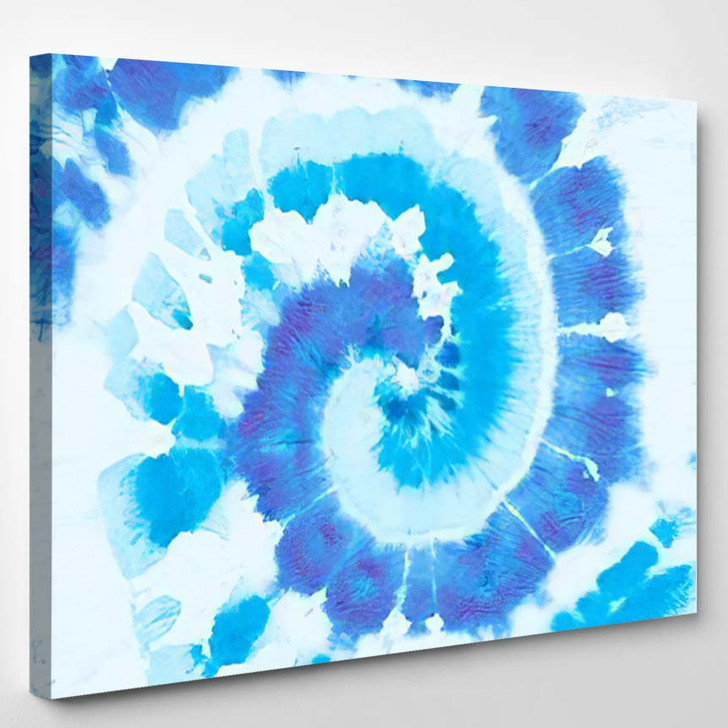 Hippie Blue Round Turquoise Color Pattern - Hippies Canvas Wall Decor