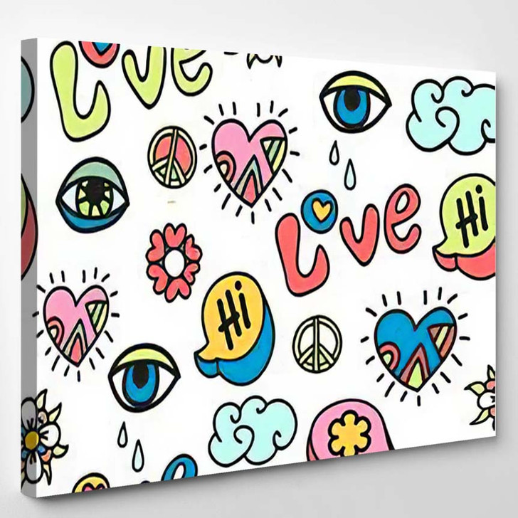 Hippie Doodle Vector Seamless Pattern - Hippies Canvas Wall Decor
