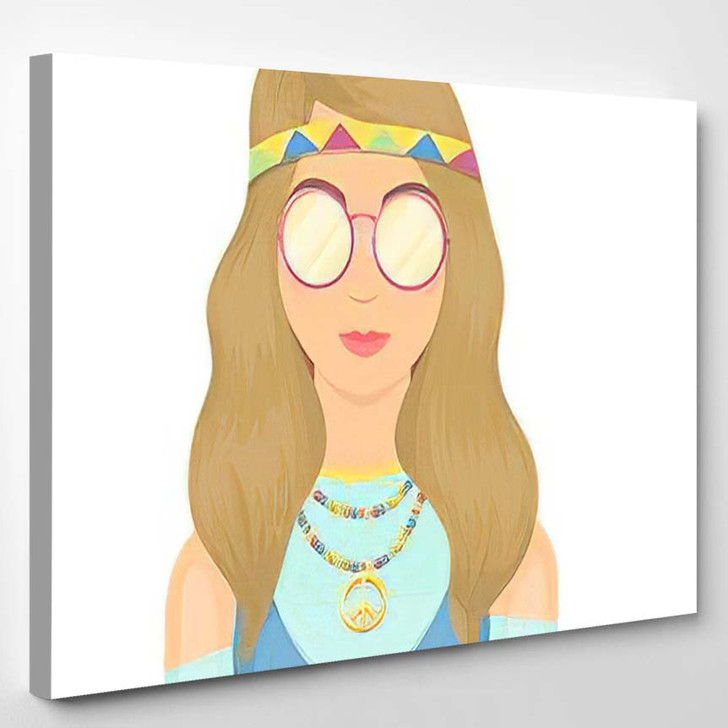 Hippie Girl Glasses Beads Single Icon - Hippies Canvas Wall Decor