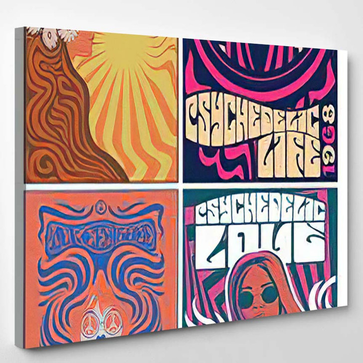Hippie Girls 1960S Posters Stylization Psychedelic - Hippies Canvas Wall Decor