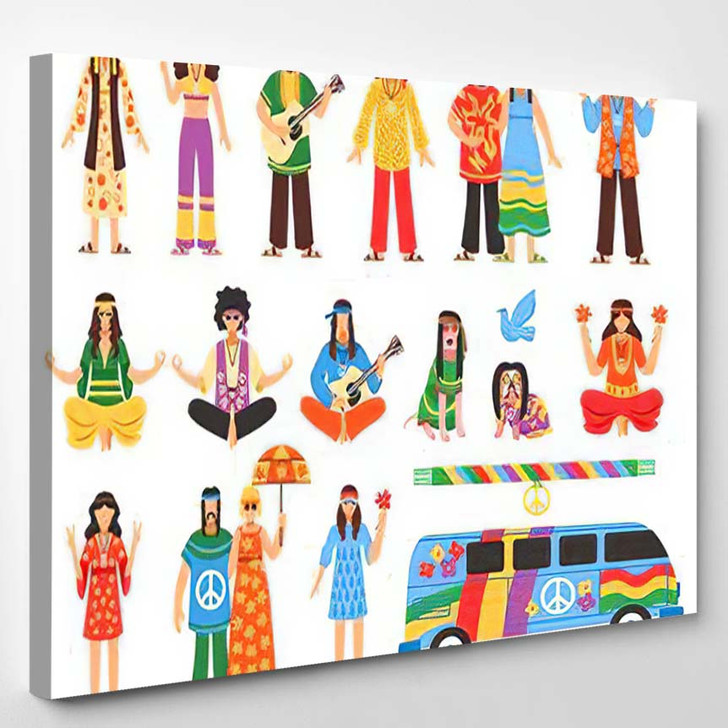 Hippie Isolated Decorative Icons Set Young - Hippies Canvas Wall Decor