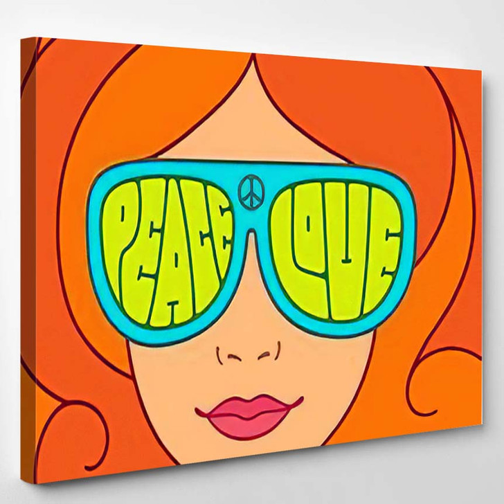 Hippie Love Peace Illustration Beautiful Red - Hippies Canvas Wall Decor