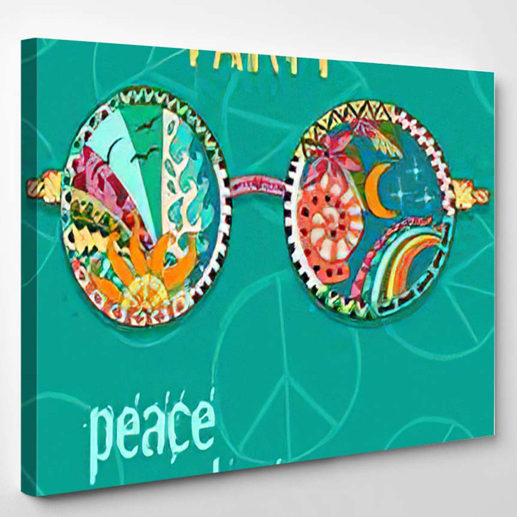 Hippie Party Poster Hippy Background Sun - Hippies Canvas Wall Decor