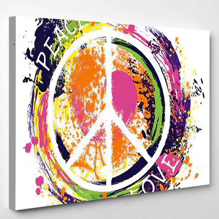 Hippie Peace Symbol Love Colorful Hand - Hippies Canvas Wall Decor