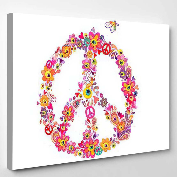 Hippie Print Peace Flower Symbol Abstract - Hippies Canvas Wall Decor