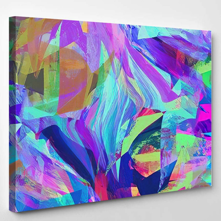 Hippie Psychedelic Brush Stroke Graphic Design - Hippies Canvas Wall Decor