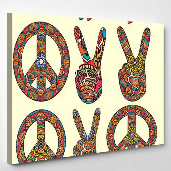 Hippie Style Ornamental Watercolor Background Love 1 - Hippies Canvas Wall Decor