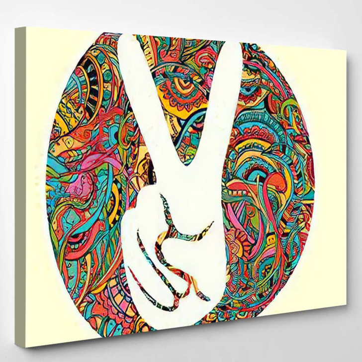 Hippie Style Ornamental Watercolor Background Love 2 - Hippies Canvas Wall Decor