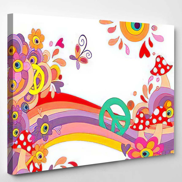 Hippie Summery Background Abstract Colorful Flowers - Hippies Canvas Wall Decor