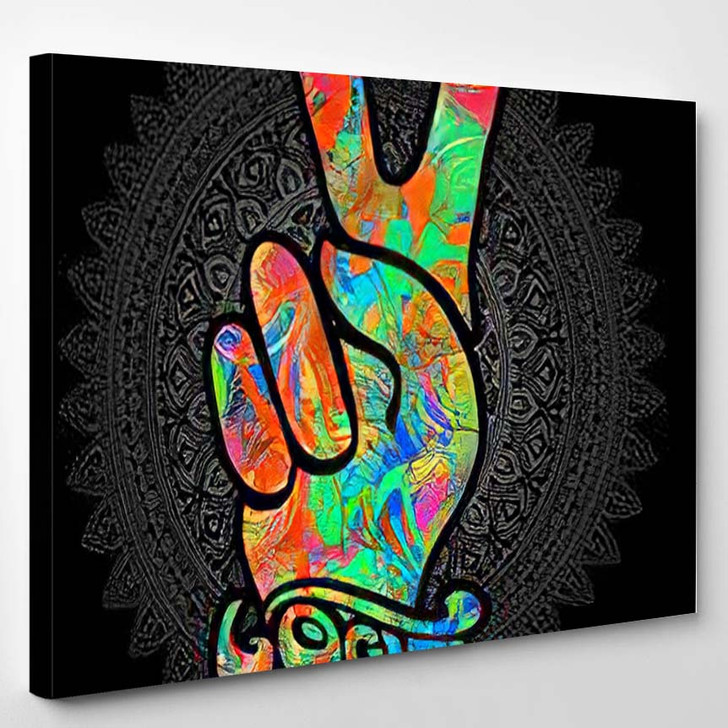 Hippie Symbols Two Fingers Sign Victory - Hippies Canvas Wall Decor