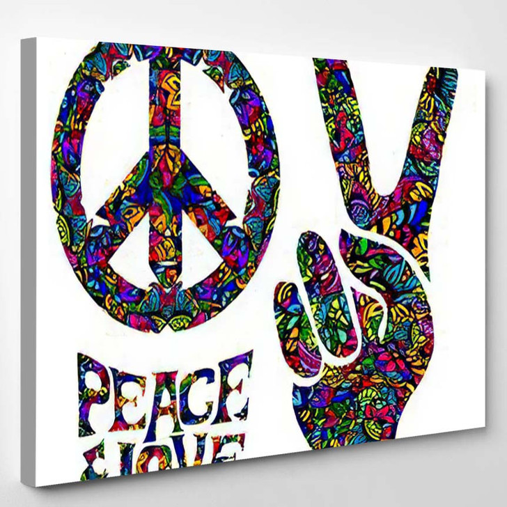 Hippie Symbols Two Fingers Sign Victory 3 - Hippies Canvas Wall Decor