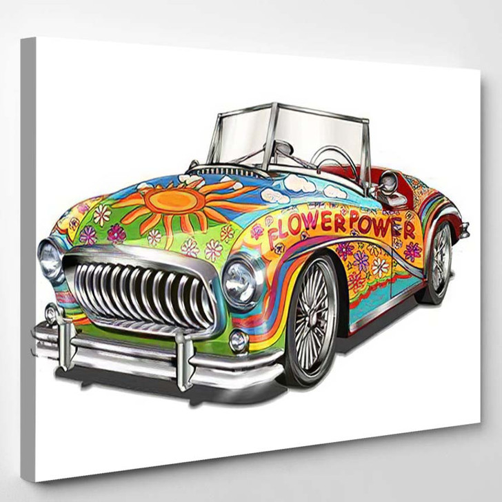 Hippie Vintage Car Isolated On White - Hippies Canvas Wall Decor