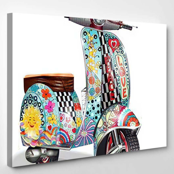 Hippie Vintage Scooter - Hippies Canvas Wall Decor