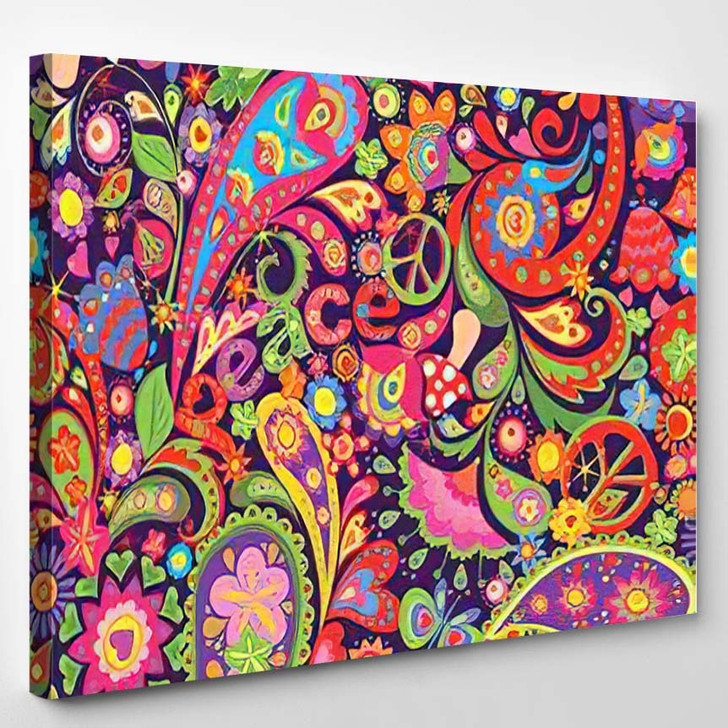 Hippie Vivid Colorful Wallpaper Abstract Flowers - Hippies Canvas Wall Decor