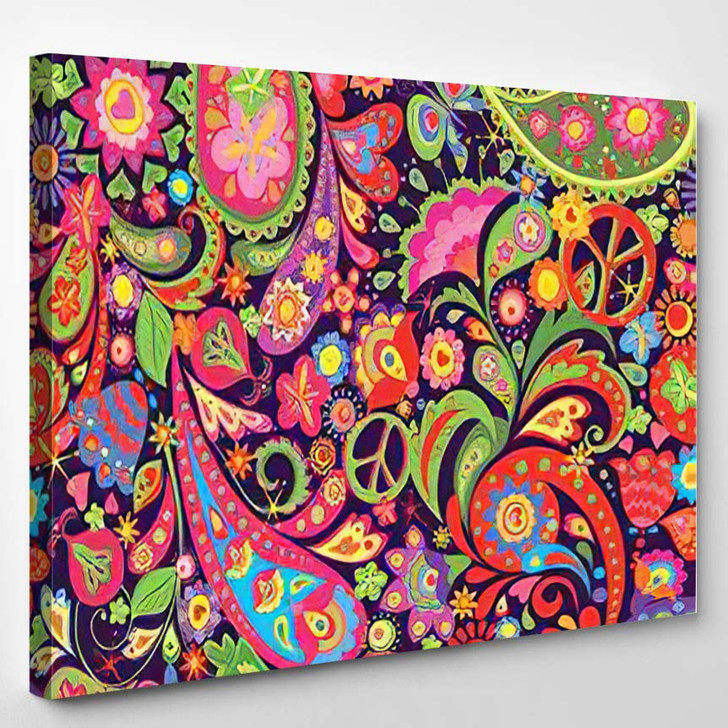Hippie Vivid Colorful Wallpaper Abstract Flowers 1 - Hippies Canvas Wall Decor