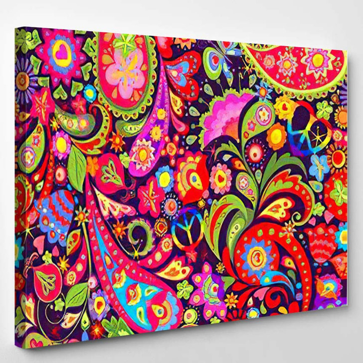 Hippie Vivid Colorful Wallpaper Abstract Flowers 2 - Hippies Canvas Wall Decor