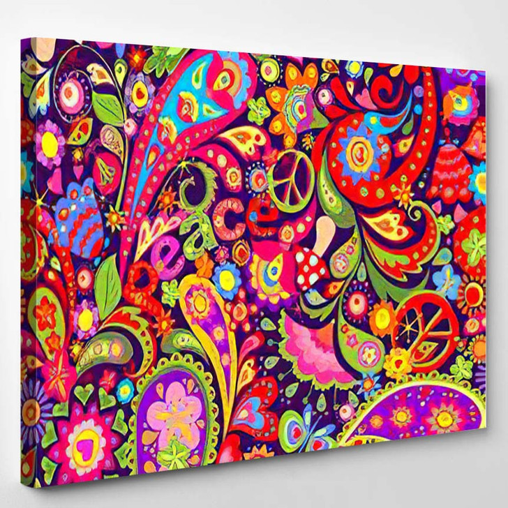 Hippie Vivid Colorful Wallpaper Abstract Flowers 3 - Hippies Canvas Wall Decor