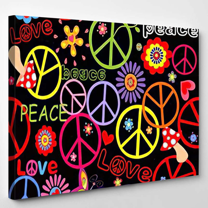 Hippie Wallpaper Peace Symbol Mushrooms Abstract - Hippies Canvas Wall Decor