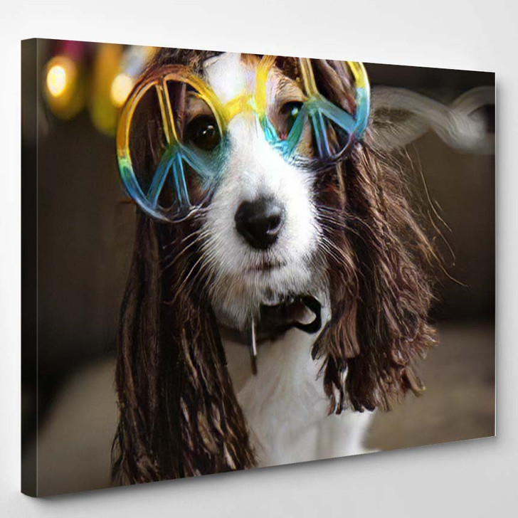 Hippy Dog Costume Funny Jack Russell - Hippies Canvas Wall Decor