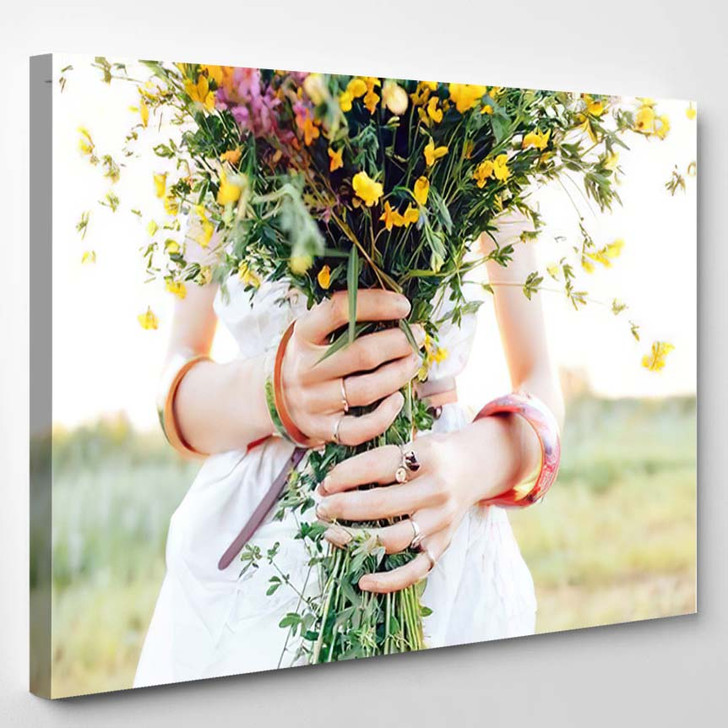 Hippy Girl Holding Bouquet Wildflowers Her - Hippies Canvas Wall Decor