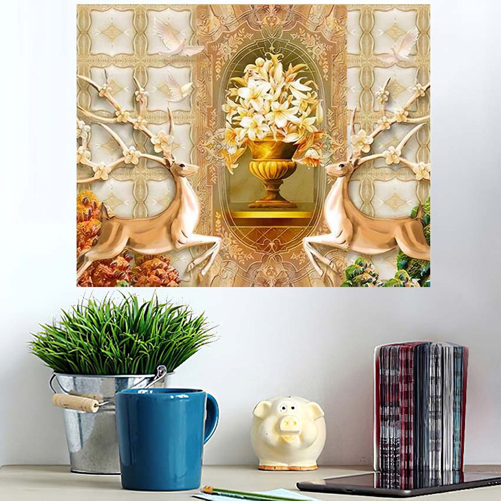 3D Illustration Beige Background Green Golden - Christian Wall Art Poster