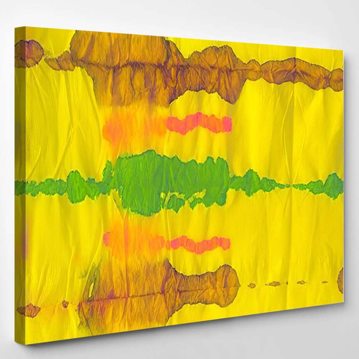 Hippy Painting Orange Colorful Print Turquoise - Hippies Canvas Wall Decor