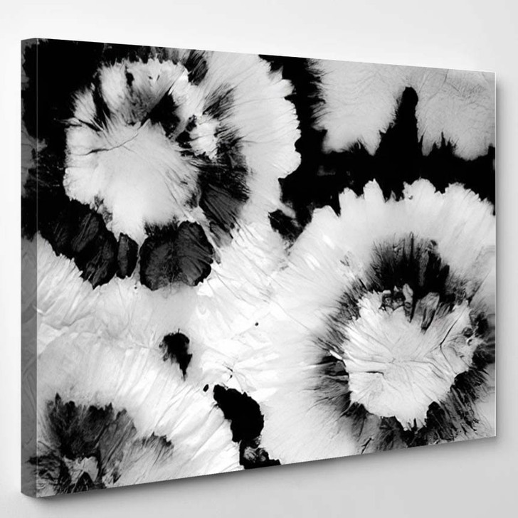 Ink Spiral Monochrome Hippies Style Gray - Hippies Canvas Wall Decor