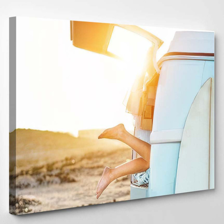 Legs View Happy Surfer Girl Inside 1 - Hippies Canvas Wall Decor