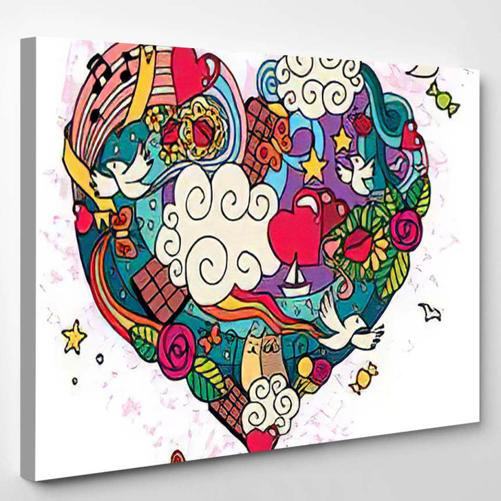 Love Doodle Hand Drawn No Transparency - Hippies Canvas Wall Decor