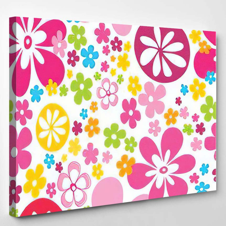 Lovely Bright Flowers Seamless Pattern Pink - Hippies Canvas Wall Decor