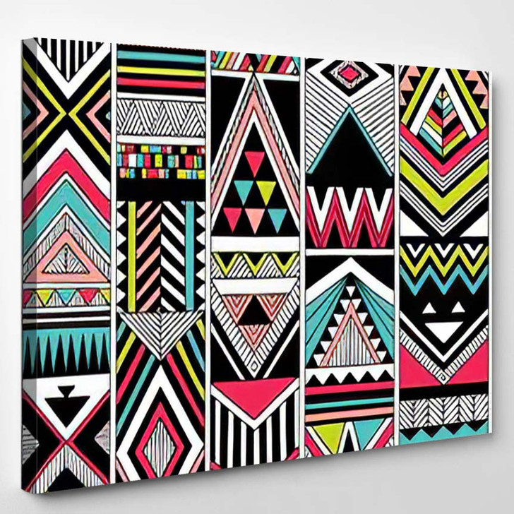 Multicolor Tribal Vector Seamless Pattern Aztec - Hippies Canvas Wall Decor