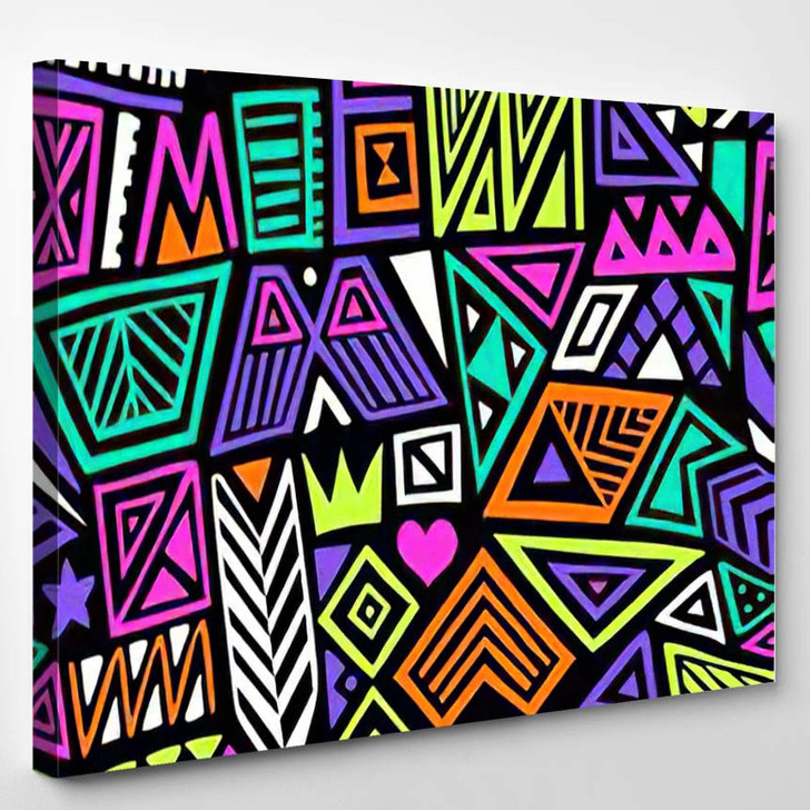 Multicolor Vector Seamless Pattern Abstract Shapes - Hippies Canvas Wall Decor