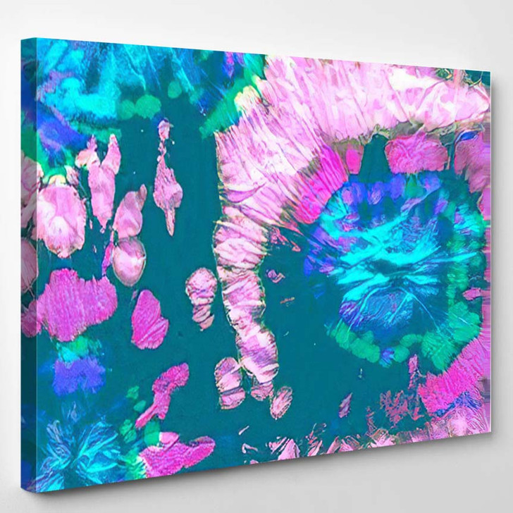Multicolored Hippie Background Vivid Paisley Psychedelic - Hippies Canvas Wall Decor