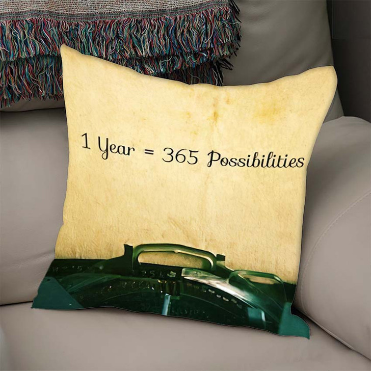 1 Year 365 Possibilities Inspiration Motivational - Quotes Linen Throw Pillow