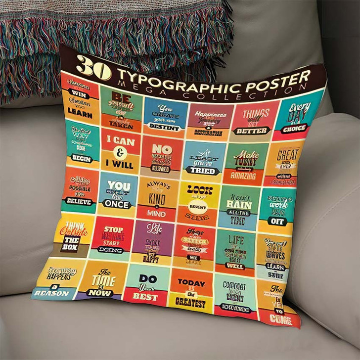30 Typographic Poster Set Vintage Style - Quotes Linen Throw Pillow