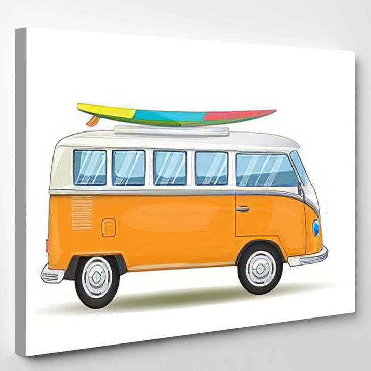 Old Retro Classic Traveling Van Travel - Hippies Canvas Wall Decor